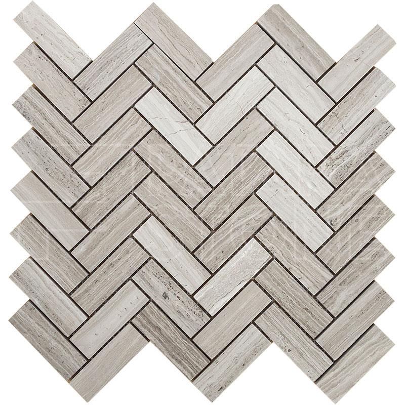 Wooden Gray 1x3 Grande Herringbone Mosaic Patara Stone