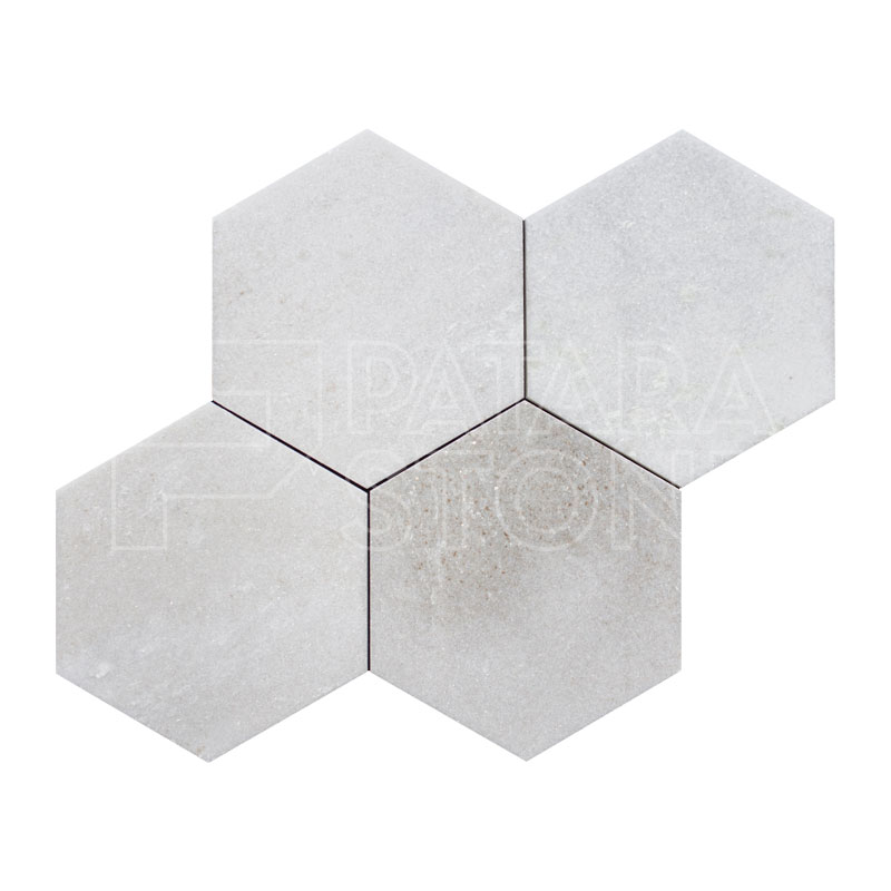 Lotus White Polished 6 Inch Hexagon