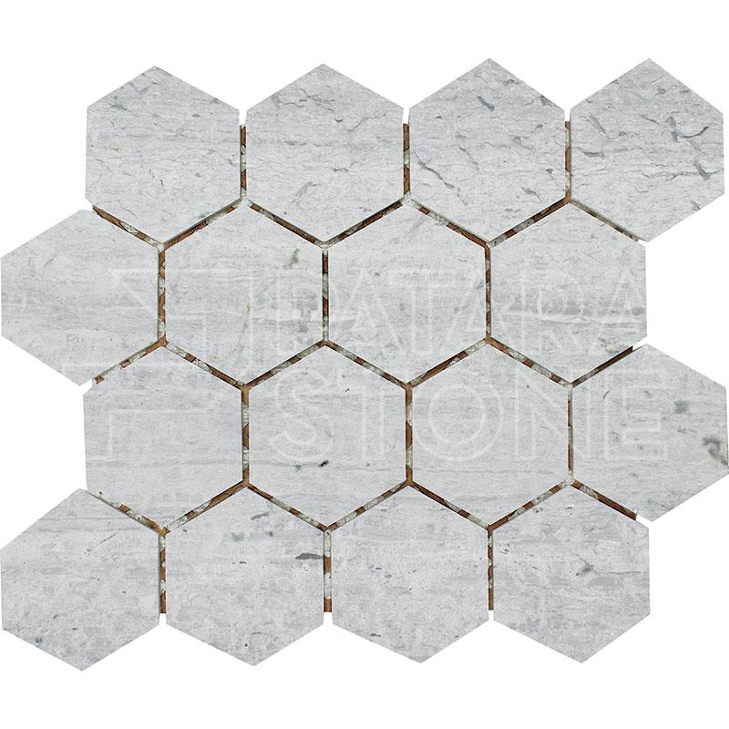 Driftwood Blue 3 Inch Hexagon Honed Patara Stone