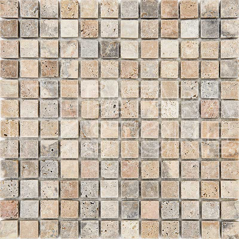Polished Scabos Travertine 1 X 1 Mosaic Tile Marble Tiles Tools Home Improvement