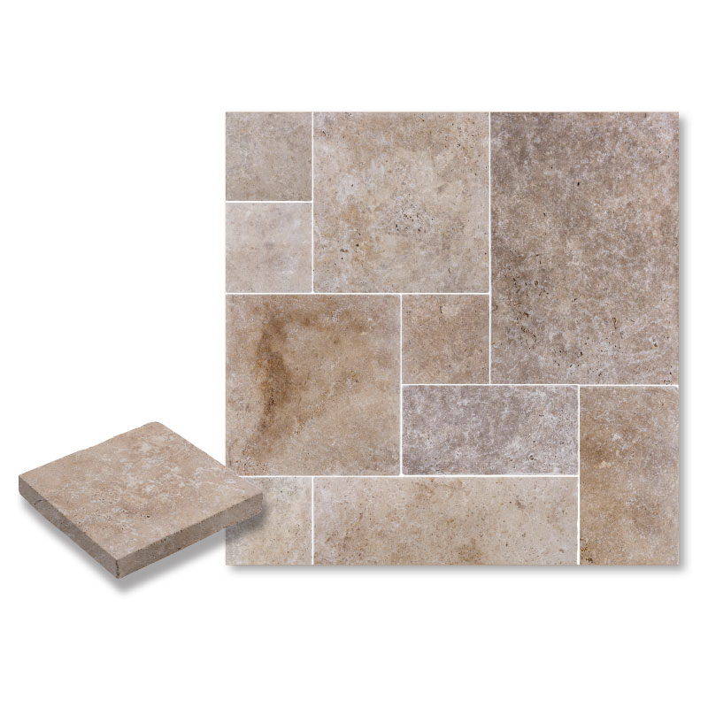 Tumbled Riverbed Walnut Beige 3: WALNUT PAVER TUMBLED FRENCH PATTERN 3 CM