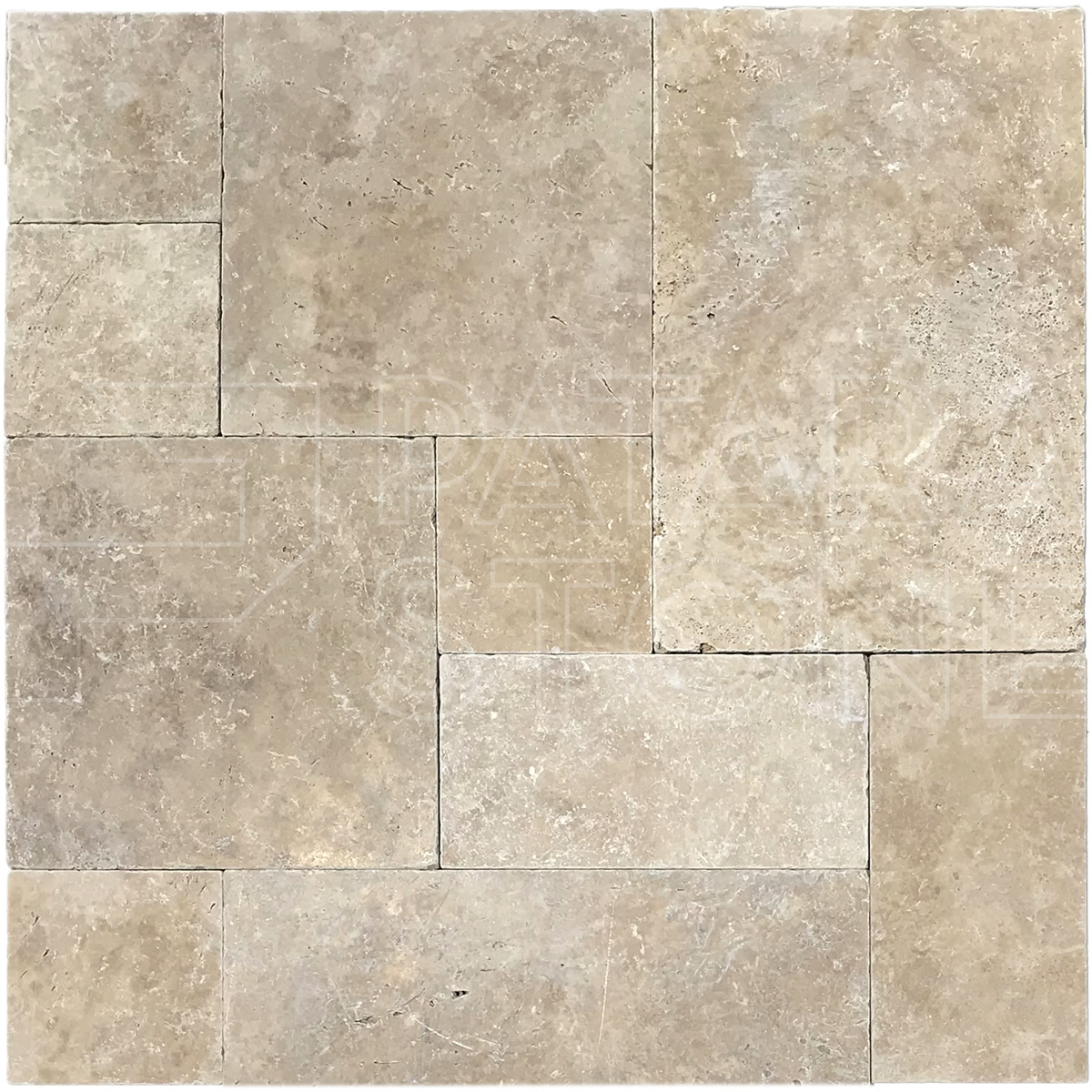 Tumbled Riverbed Walnut Beige 3: SAVANNAH WALNUT TUMBLED FRENCH PATTERN 3 Cm PAVER