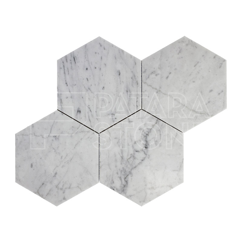 Carrara White Polished 6 Inch Hexagon Tile Patara Stone